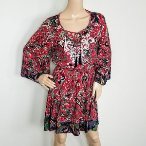 FLYING TOMATO PAISLEY PRINT RAYON DRESS MEDIUM